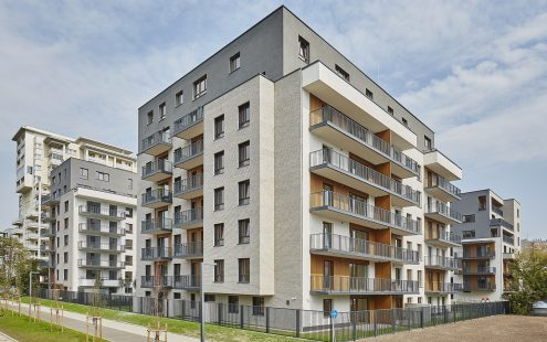Multifamily biulding located in Warsaw Poland made with Modena Terca bricks